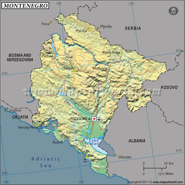 Serbia and Montenegro Latitude and Longitude Map