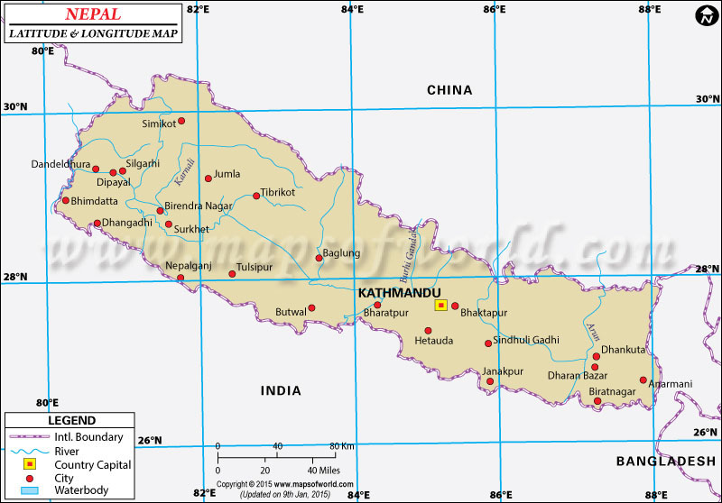 Nepal Latitude and Longitude Map