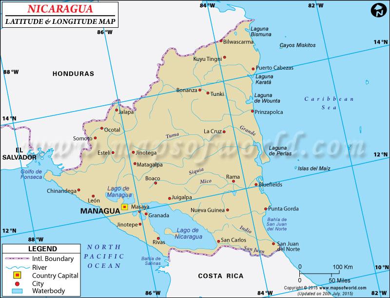 Latitude and Longitude Map of Nicaragua – Nicaragua Travel Map