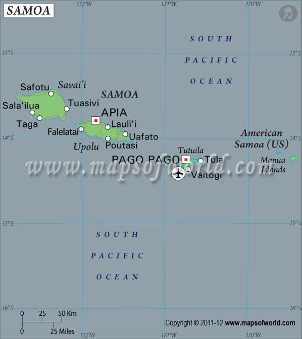 Samoa Latitude and Longitude Map