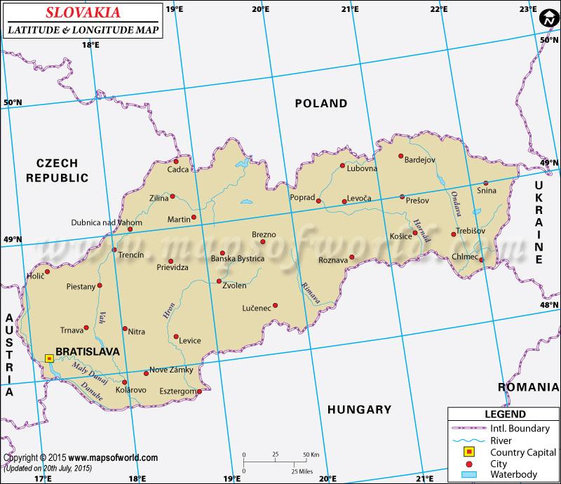 Slovakia Latitude and Longitude Map