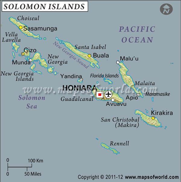 Solomon Islands Latitude and Longitude Map
