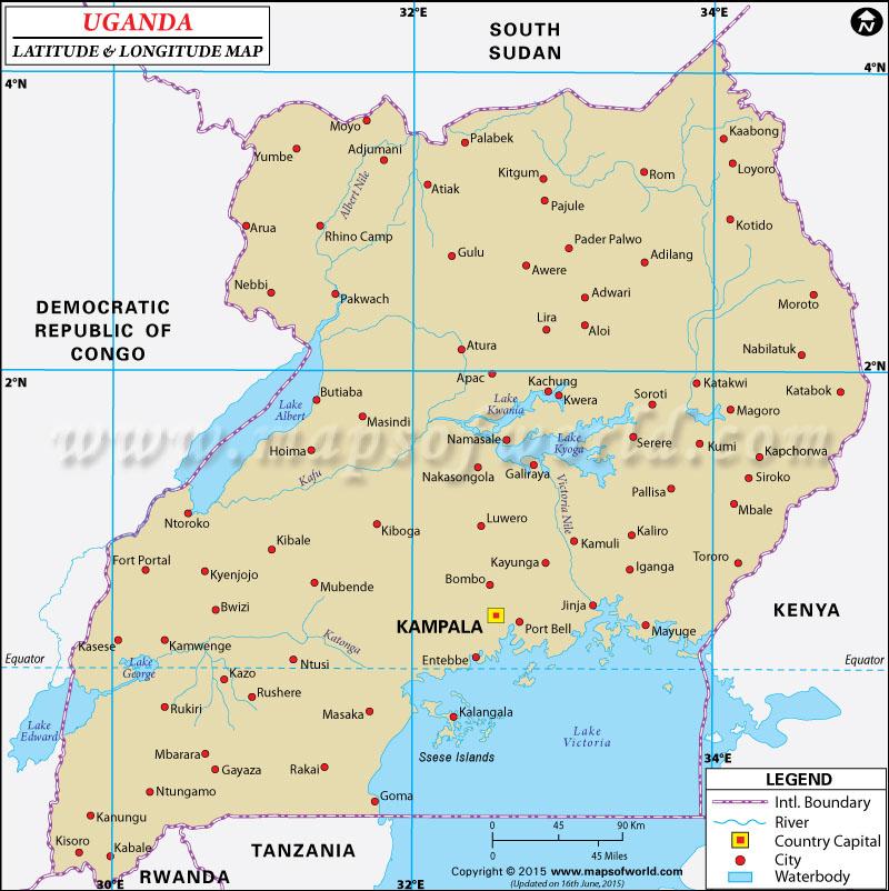 Uganda Latitude and Longitude Map