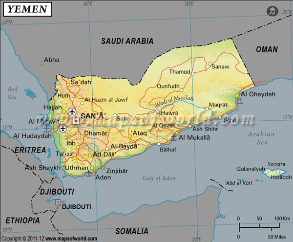 Yemen Latitude and Longitude Map