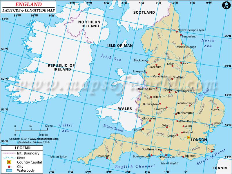 What's the latitude and longitude of london, England?