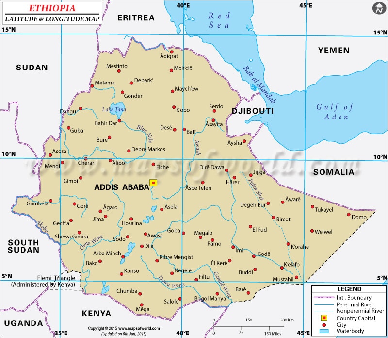 Ethiopia Latitude and Longitude Map