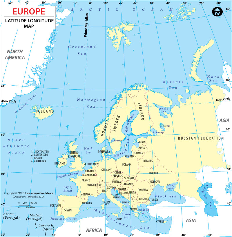 Latitude and Longitude Maps of European Countries