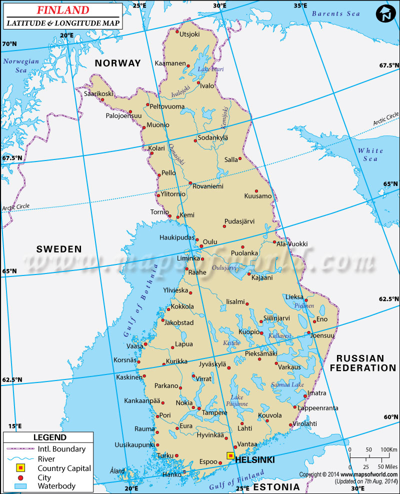 Finland Latitude and Longitude Map