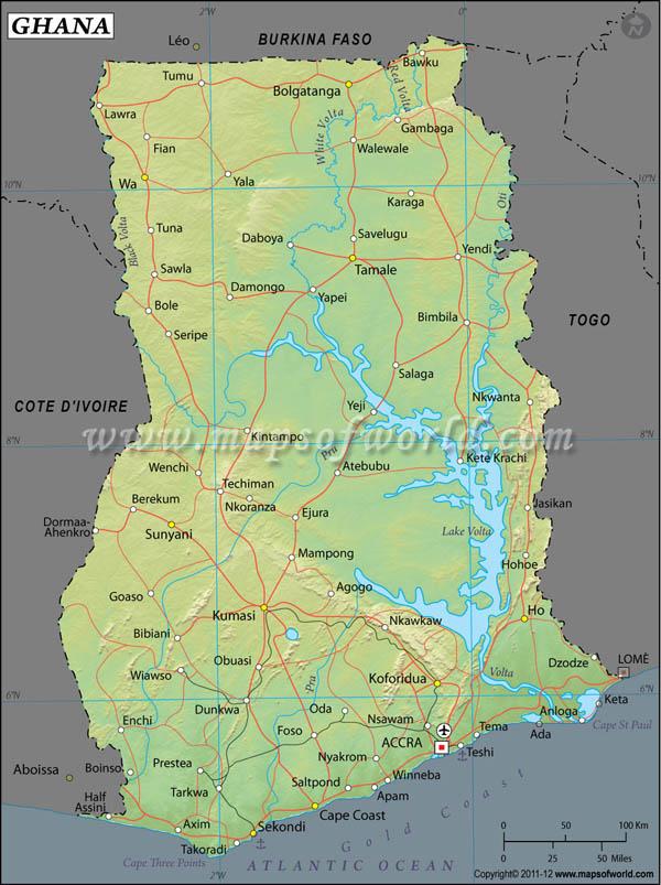 Ghana Latitude and Longitude Map
