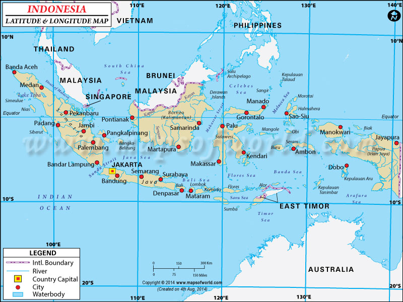 Indonesia Latitude and Longitude Map
