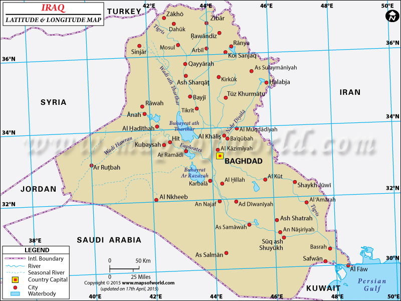 Iraq Latitude and Longitude Map