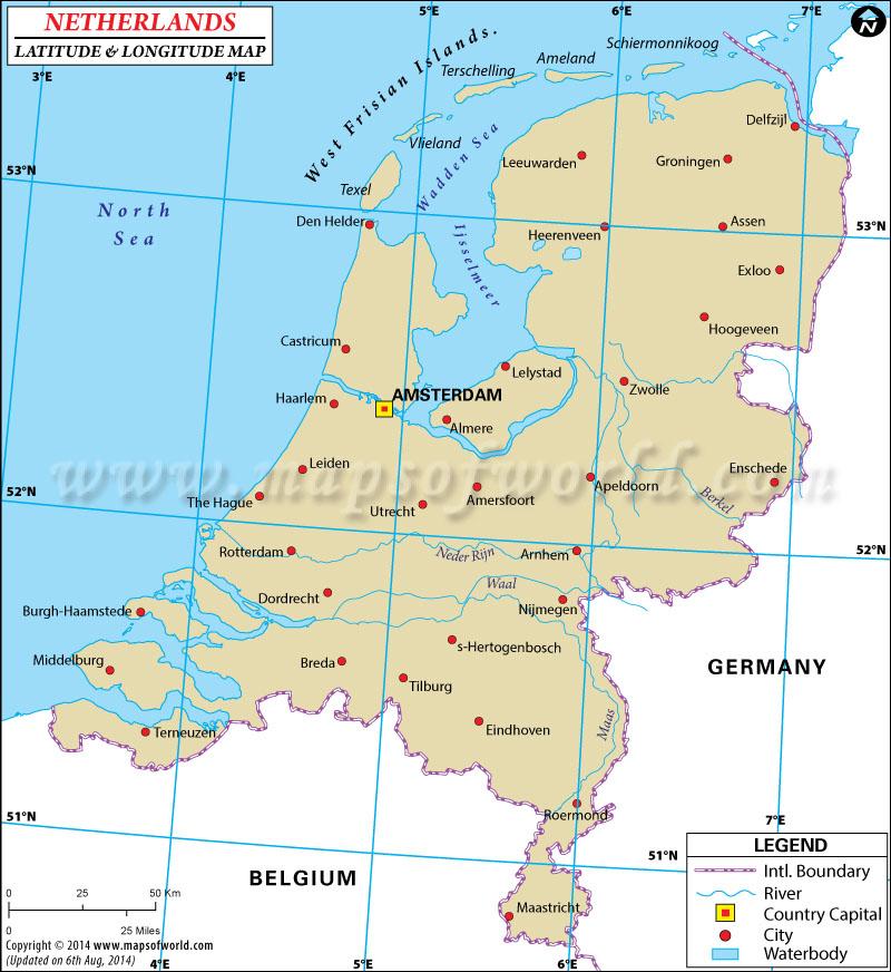 Netherlands Latitude and Longitude Map