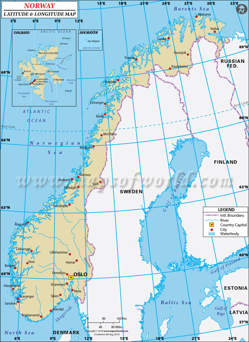 Norway Latitude and Longitude Map