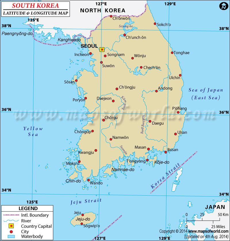 South korea Latitude and Longitude Map