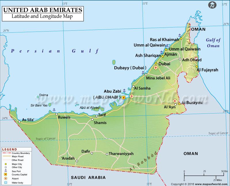 Arab Emirates Latitude and Longitude Map – Map of United Arab Emirates