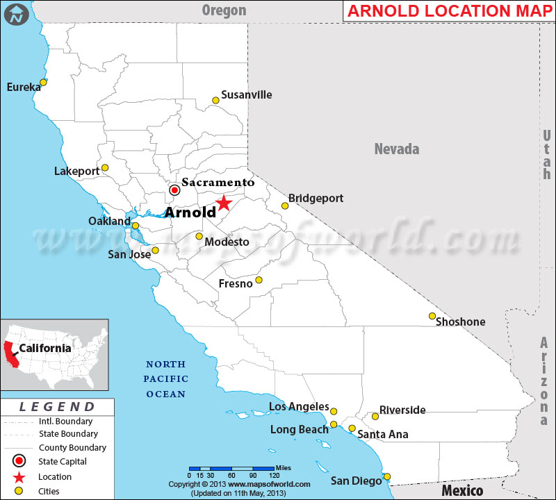 Description map showing location arnold in california state of usa