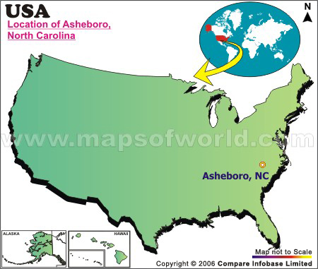 Location Map of Asheboro, USA