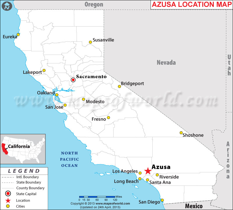 Description : Map showing location Azusa in California state of USA.