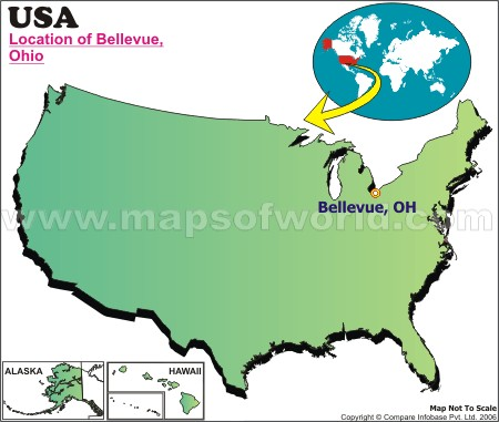 Location Map of Bellevue, Ohio, USA