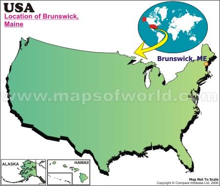 Location Map of Brunswick, Maine, USA