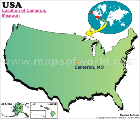 Location Map of Cameron, Tex., USA