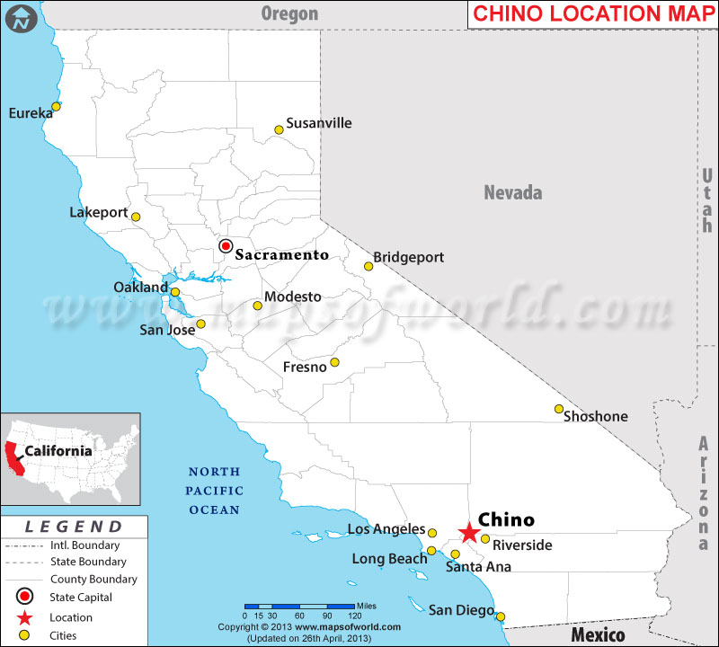 Description map showing location chino in california state of usa