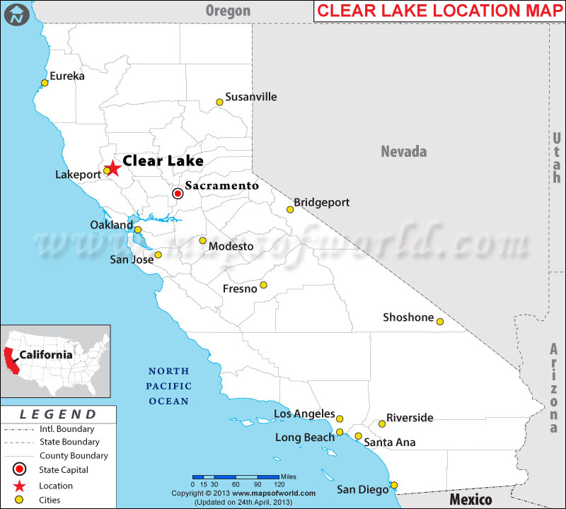 Description map showing location clear lake in california state of