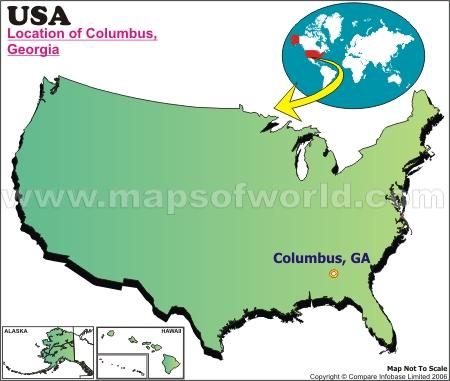 Location Map of Columbus, Ga., USA