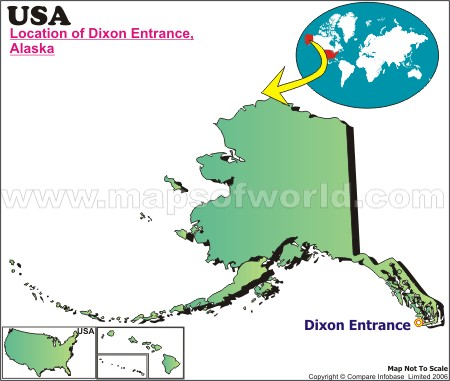 Location Map of Dixon Entrance, USA