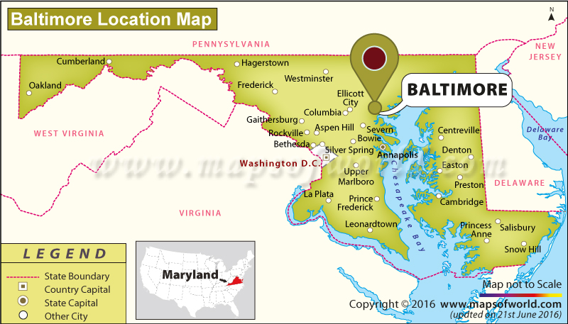 Usa Map Showing Baltimore – Baltimore Tourist Map