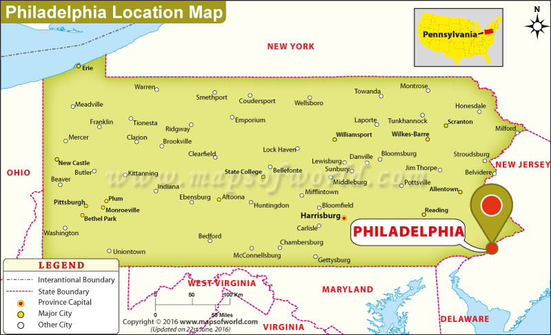 Philadelphia On The Map Of Usa Swimnovacom - Philadelphia location on us map