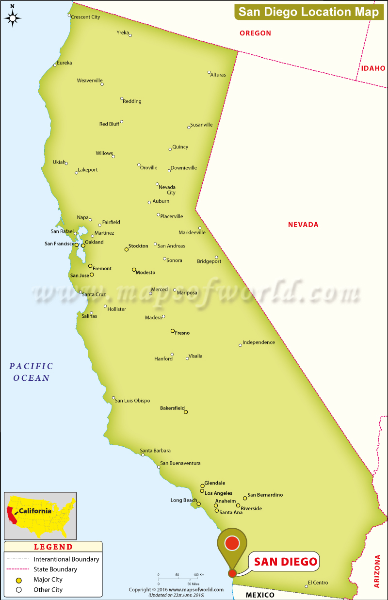 Map Of California Cities San Diego