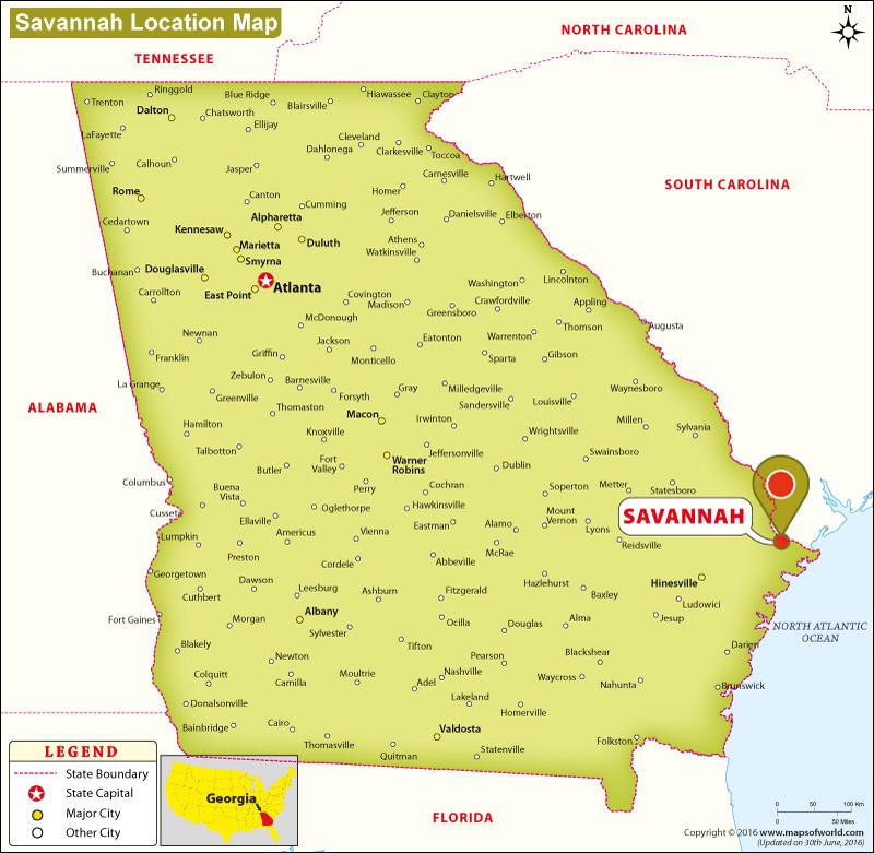Where Is Savannah Georgia? Location Map Of Savannah USA
