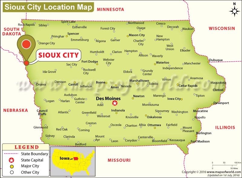 Where is Sioux City, Iowa? Location Map of Sioux City USA