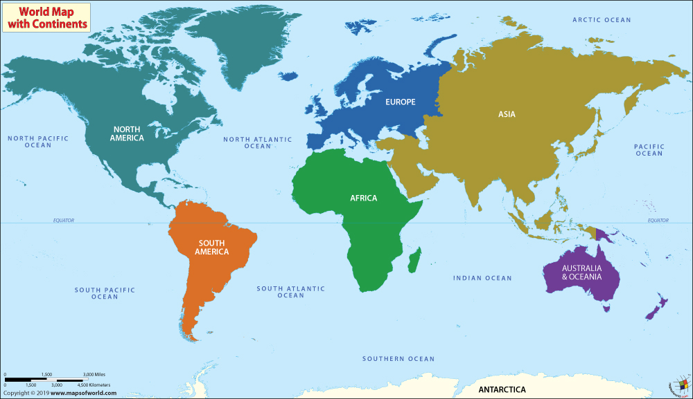 Maps of the World on any Continent & Discover Countries