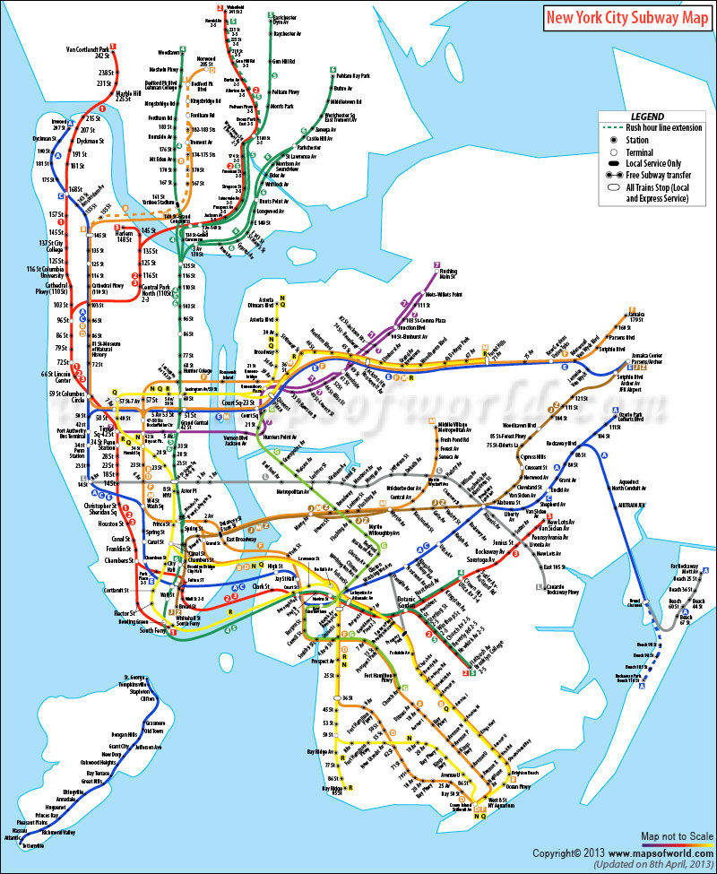 NYC Subway Map – Map of the New York City