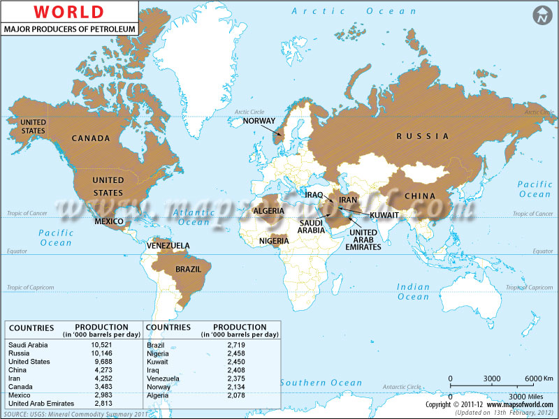 World Crude Oil Producing Countries Map