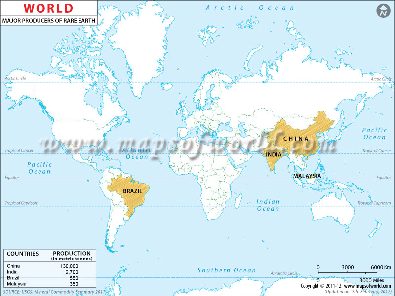 World Map-Rare Earths Producers