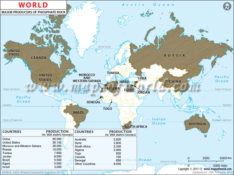 World Rock Phosphate  Producing Countries Map