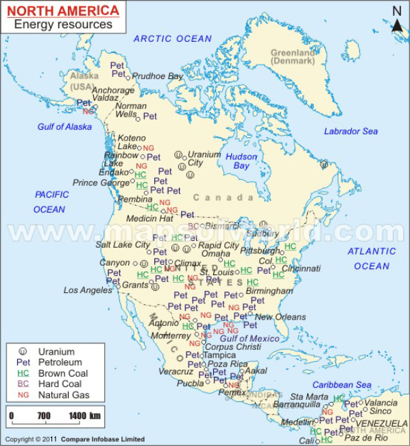 Map of North America Energy Resources – North America Travel Map