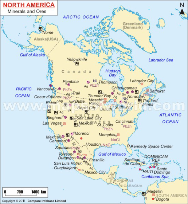North America Minerals And Ores Map