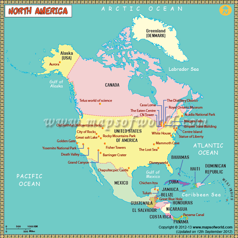 America Map for Kids – North America Travel Map