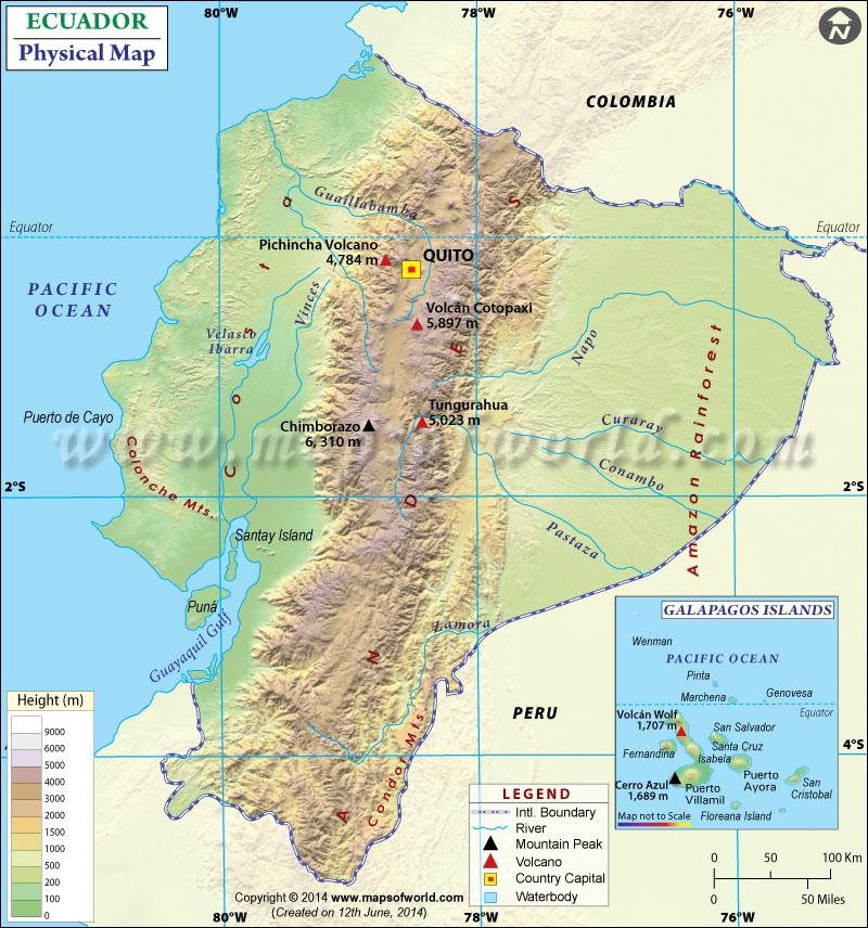 Ecuador Physical Map – Physical Map