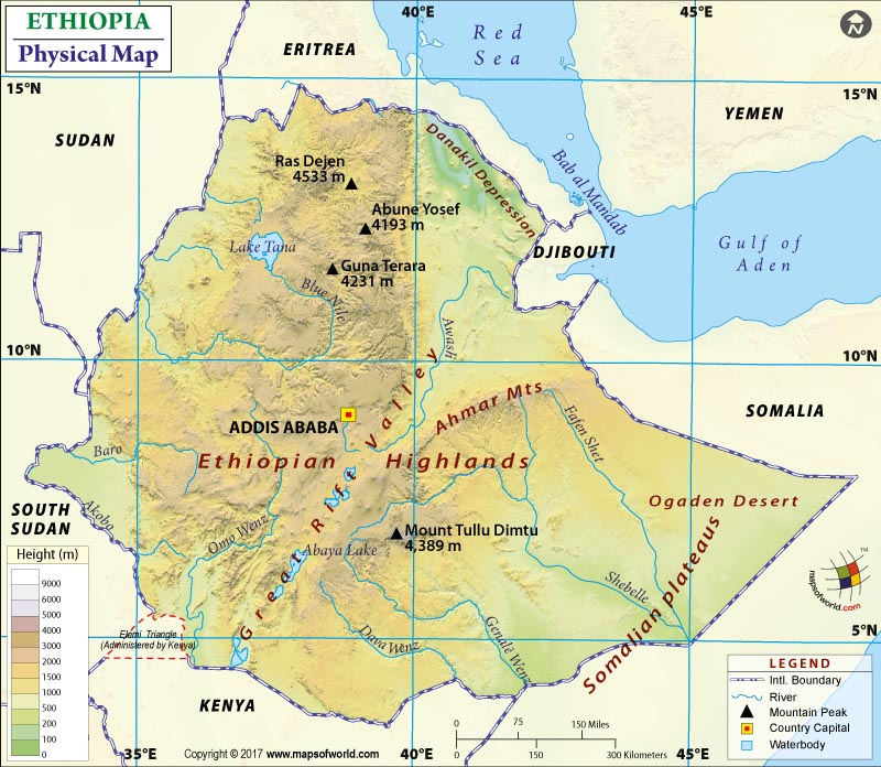Map of Ethiopia – Physical Map