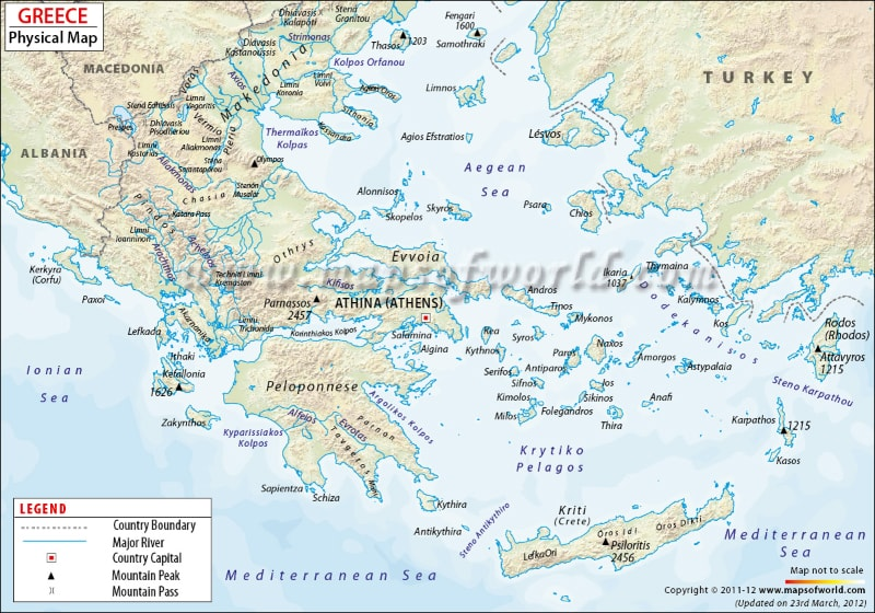 Physical Map Of Greece Mountains