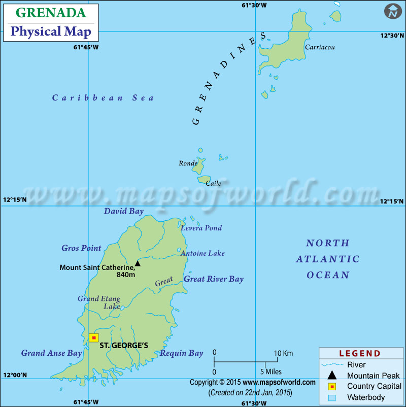 Grenada Physical Map Of