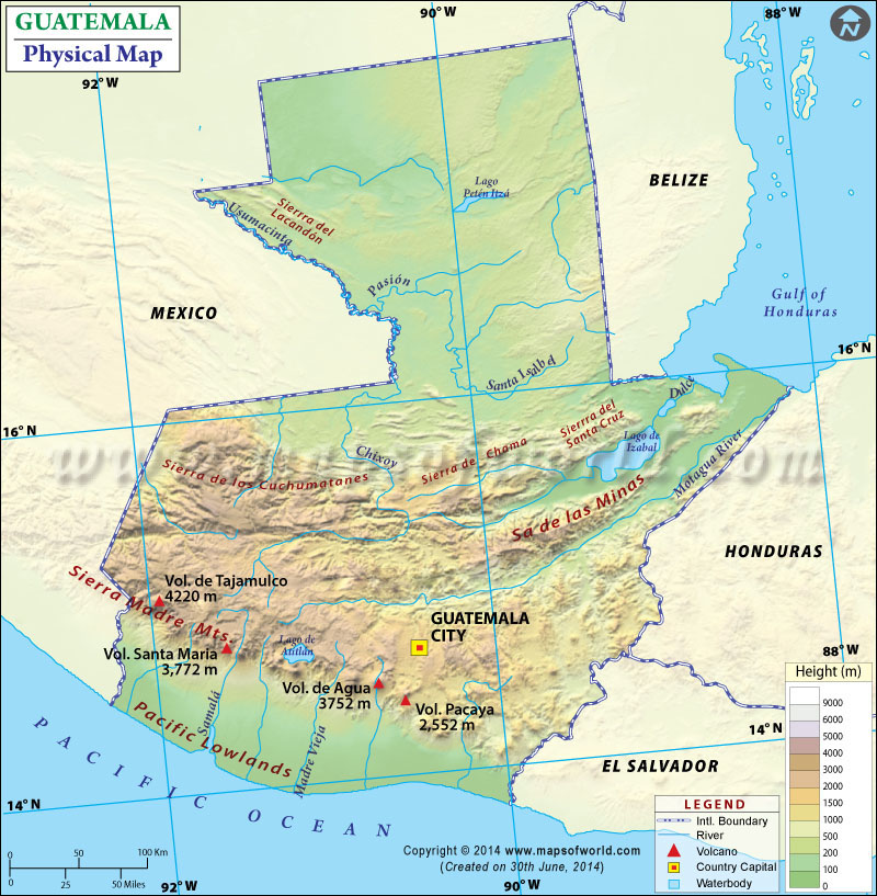 Description the physical map of guatemala shows elevations mountain