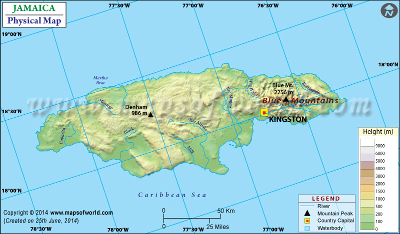Physical Map Of Jamaica