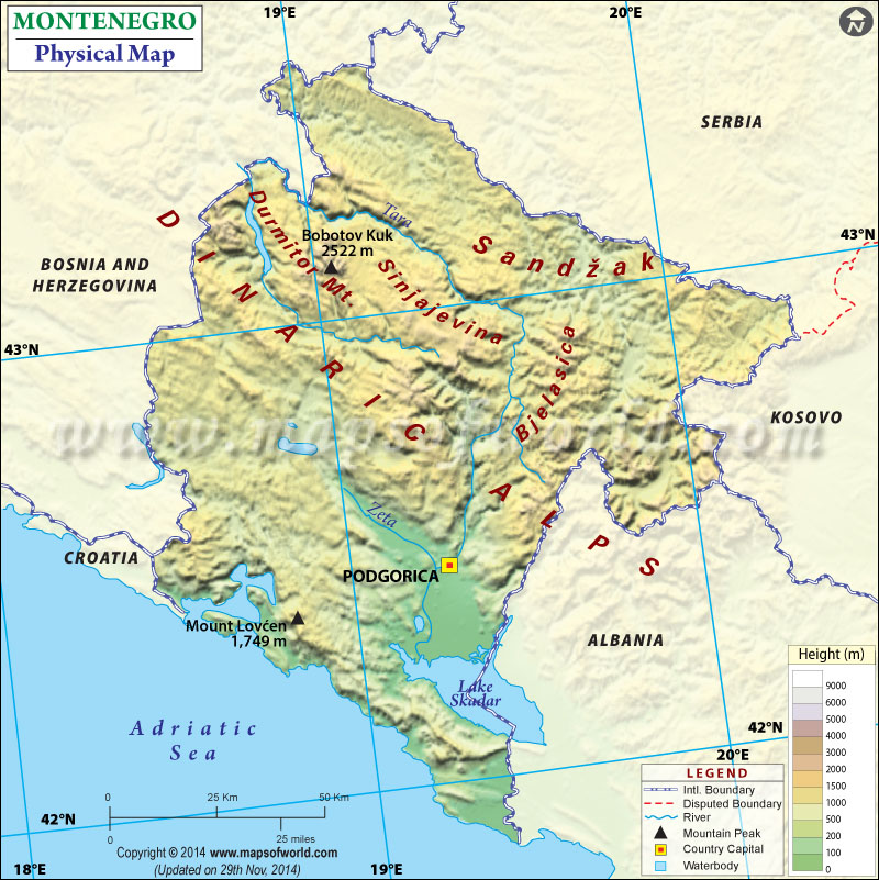 Physical Map Of Montenegro