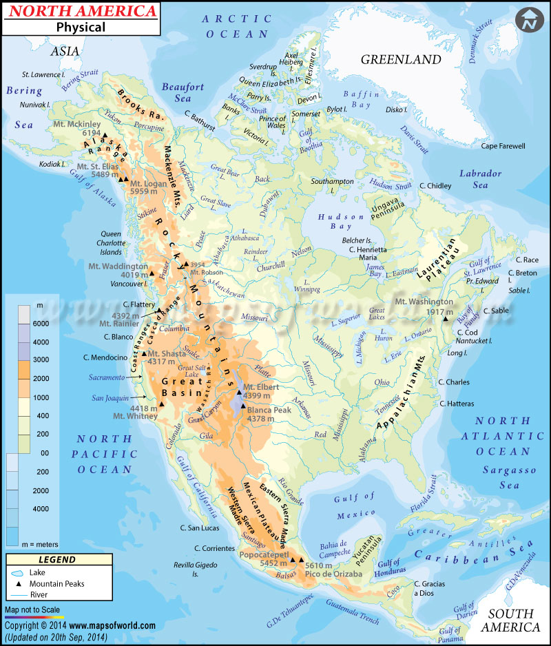 North America Physical Map – Map of Canada North